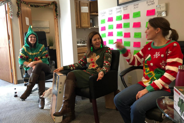The VisionSpark team at our Ugly Sweater Holiday Office Party